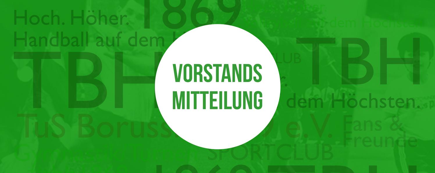 Banner zu Vorstandsmitteilung im Mai 2021